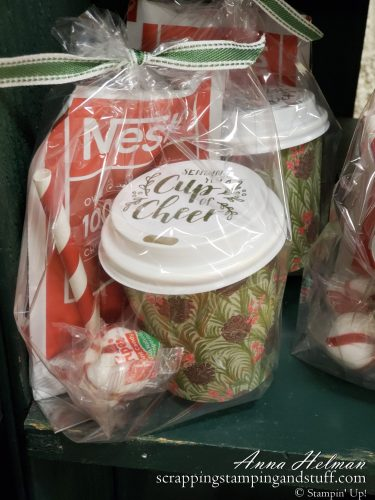These decorated Stampin Up mini coffee cups make fantastic stocking stuffer ideas, treat holders, or gift card holders!