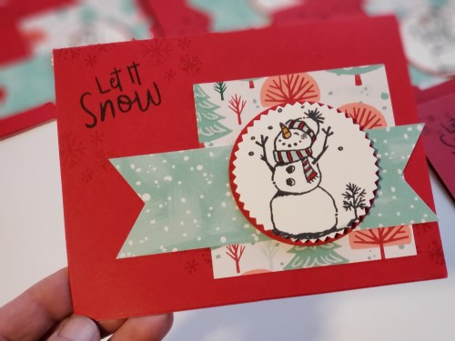Adorable snowman card idea made using the Stampin Up Snowman Season stamp set