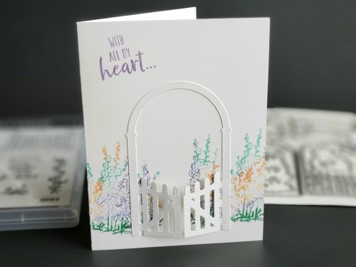 Secret garden card idea made with Stampin Up Grace's Garden stamp and die set in 2020 Mini Catalog