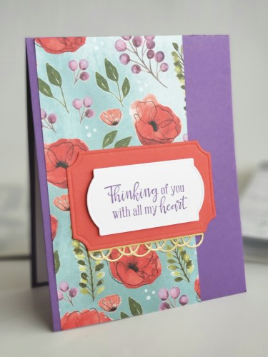 Pretty purple thinking of you card made with the Stampin Up Peaceful Moments stamp set and Peaceful Poppies designer series paper