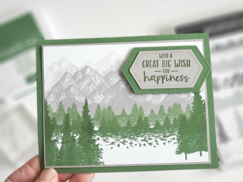 Love this mountain stamp and die set - Stampin Up Mountain Air set is perfect for wilderness, outdoors and masculine cards!