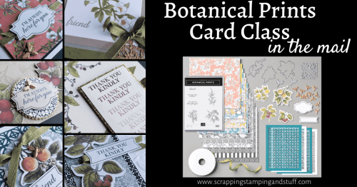 Online Stamping Class & Card Class In the Mail now available with the Stampin Up Botanical Prints Product Medley!