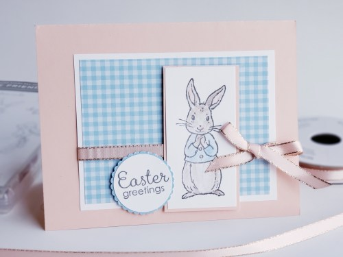 Coloring with blender pens and watercolor pencils to make this pretty Easter bunny card, Peter Rabbit baby card