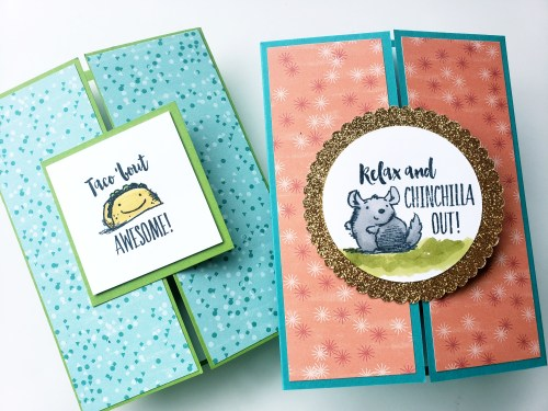 Chichilla Card Idea and Taco Bout Awesome Gate Fold Cards Using The Stampin' Up! Witty-cisms Stamp Set