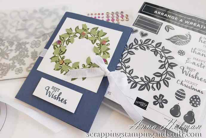 Double Pocket Envelope Card Tutorial Using Stampin Up Arrange A Wreath Bundle - Wedding Gift Card Holder