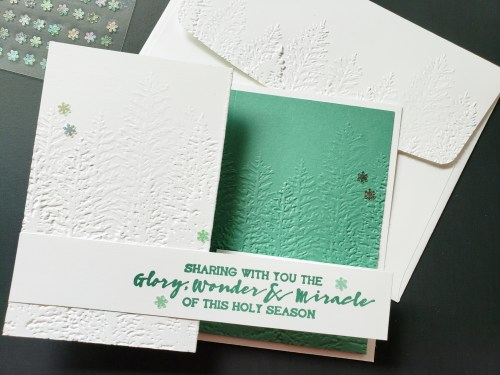 Join in for this double Z fold card tutorial featuring the Stampin Up Evergreen Forest embossing folder.