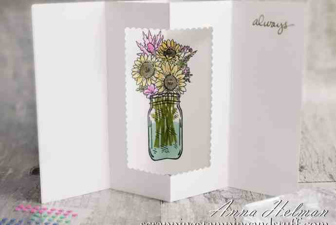 Tunnel card tutorial featuring the Stampin Up Jar of Flowers stamp set. A fun fold card design with a surprise inside!