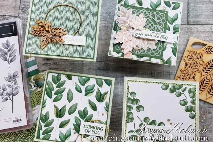 Take a look at these four pretty cards made with the Stampin Up Forever Fern stamp set, and watch along as I come up with these designs!
