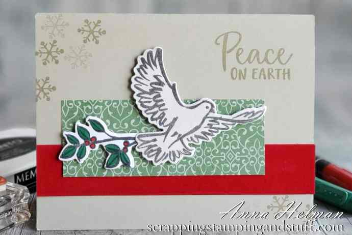 A simple dove Christmas card idea using the Stampin Up Dove Of Hope stamp set in the 2020 Holiday Mini Catalog.