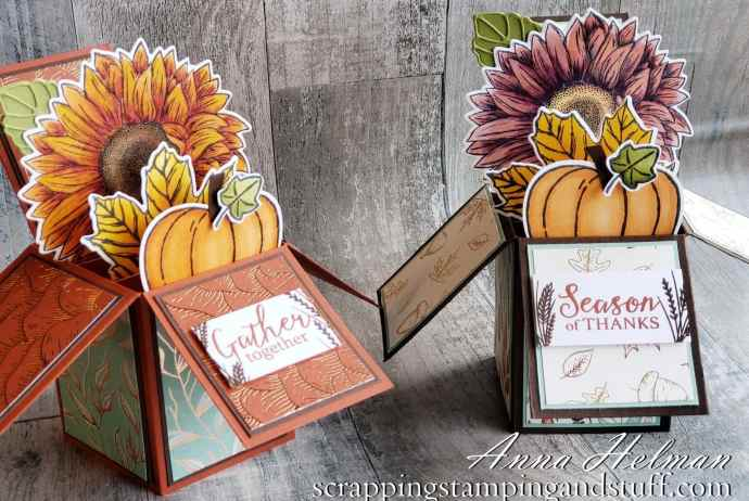 Learn to make a fun fold card in this exploding box card tutorial with Stampin Up Celebrate Sunflowers, Harvest Hellos, and Gather Together.