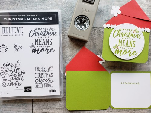 Make these Grinch Christmas cards using the Stampin Up Christmas Means More stamp set and some punch art!