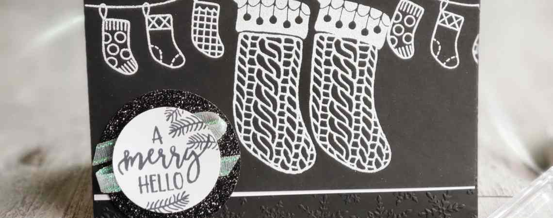 Take a look at this sweet black and white stocking Christmas card featuring the Stampin Up A Merry Hello hostess stamp set. Get this set free with any $150+ order!