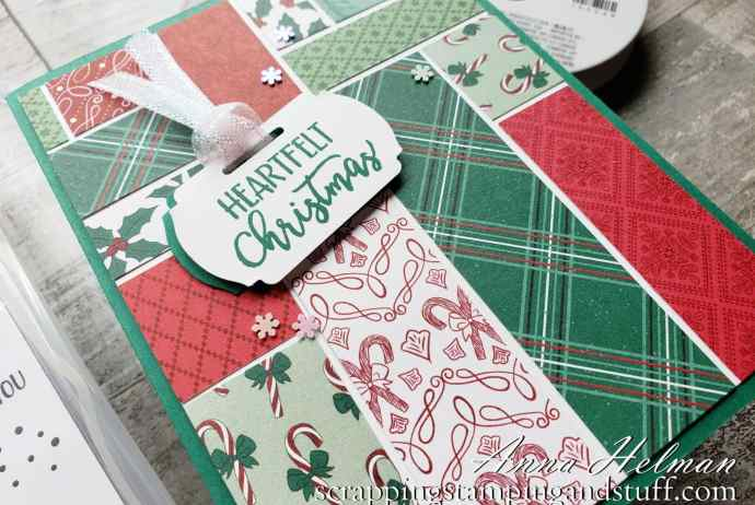 Use some of those paper scraps in your collection with this simple Christmas card design using the Stampin Up A Merry Hello stamp set!