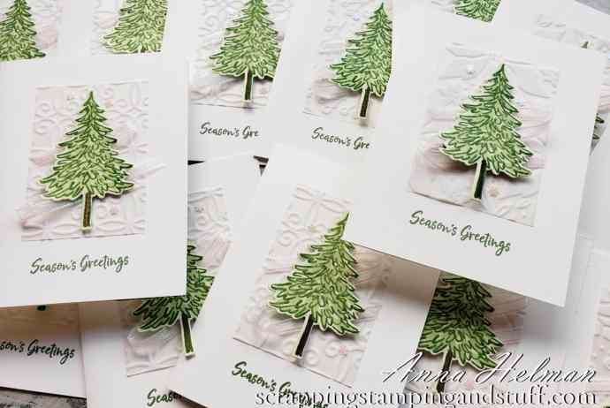 Take a look at these OnStage virtual swap cards made with the Stampin Up In The Pines bundle!