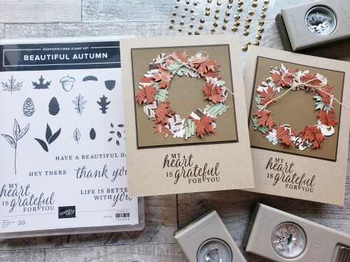 Make this beautiful autumn wreath card using the Stampin Up Beautiful Autumn stamp set and Autumn Leaf Punch Pack!