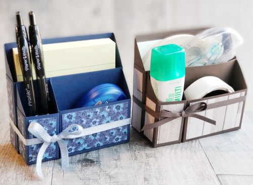 This cute desk caddy makes a wonderful gift for co-workers and crafters to keep their office and craft supplies organized!