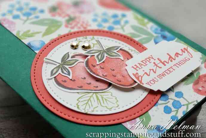 The Stampin Up Sweet Strawberry bundle makes adorable berry-licious cards such as this sweet birthday card!