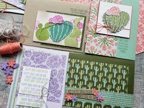 Stampin Up Flowering Cactus is a product medley including cactus stamps, dies, paper and embellishments for amazingly adorable cactus cards.