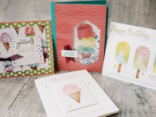 The Stampin Up Sweet Ice Cream bundle includes adorable ice cream and popsicles, and even includes an ice cream cone punch!