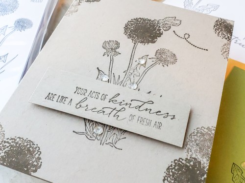 The Stampin Up Garden Wishes set includes dandelion images and pretty greetings for lovely and simple cards.