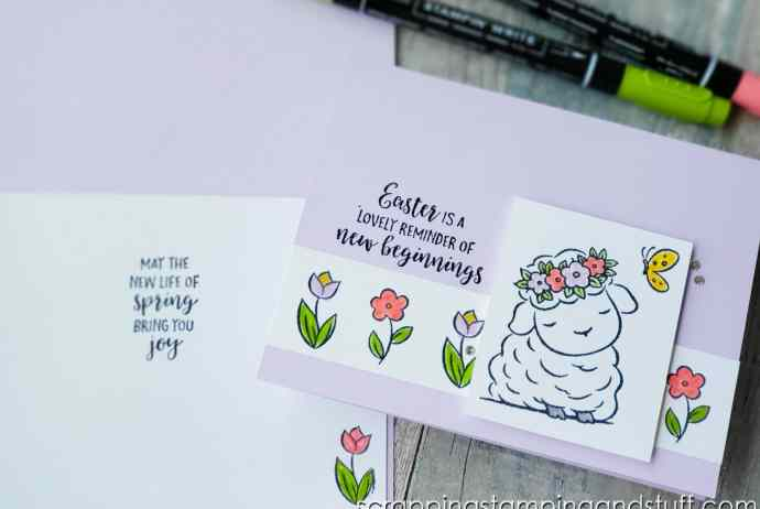 The Stampin Up Springtime Joy set is perfect for making cute spring and Easter cards. Check out this sweet little lamb card!