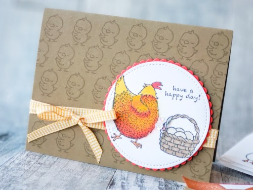 Make cute chicken cards with the Hey Chick stamp set and Springtime Joy stamps set. These cards are so adorable!