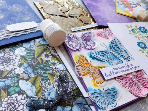 Try out these 7 ways to use Shimmer Paint by Stampin Up on your card making projects.