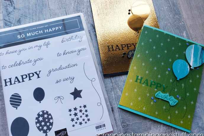 Create these beautiful congratulatory cards with Stampin Up's retiring So Much Happy stamp set and Balloon Bouquet punch.