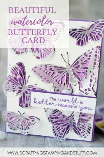 Learn how to make this beautiful watercolor butterfly card using the Stampin Up Butterfly Brilliance set!