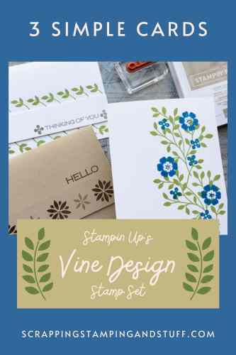 Make these three simple cards in minutes with the Stampin Up Vine Design stamp set! Perfect projects for beginning card makers!