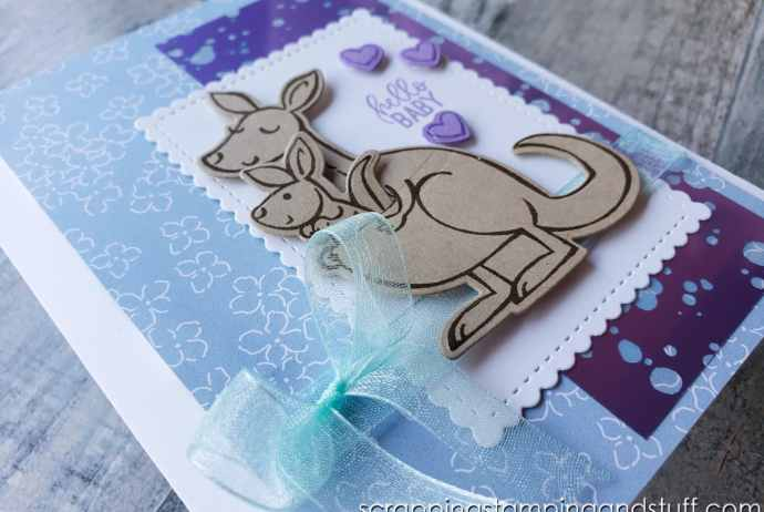 Make this adorable baby card featuring the Stampin Up Kangaroo & Company stamp set! It's so cute and playful!
