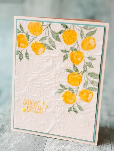 The tissue stamping technique makes for gorgeous cards. See this tutorial featuring Stampin Up Sweet As A Peach!