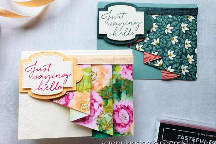 Make this drapery fold card design today and use up all those designer papers in your paper collection you've been hoarding!