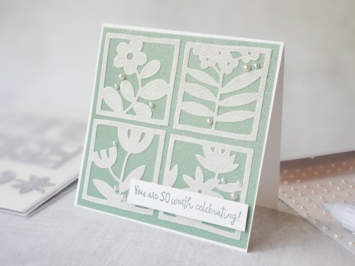 Use the Stampin Up Floral Squares die set along with beautiful shimmer vellum paper to make this amazing card today!