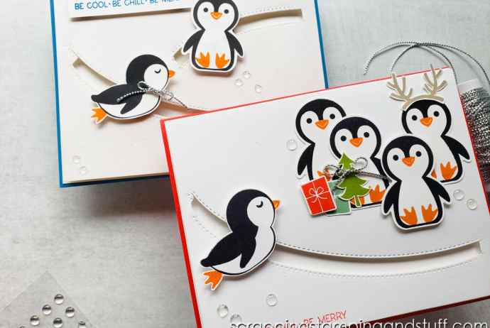 Click here to learn how to make this adorable and interactive penny slider card using the Stampin Up Penguin Place bundle