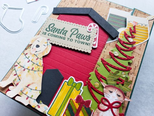 Merry Christmas from the fur babies! This adorable dog house holiday fun fold card was created with the Stampin Up Sweet Little Stockings bundle.