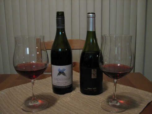 Two Pinot Noirs, both bottles and poured samples