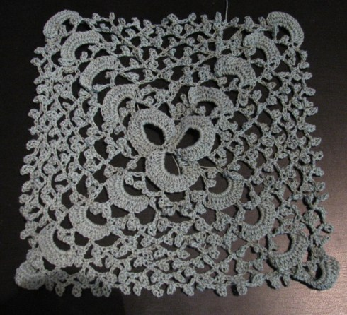 shamrock-patterned crochet panel