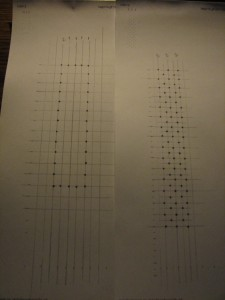 Enlarged patterns for practice bobbin lace