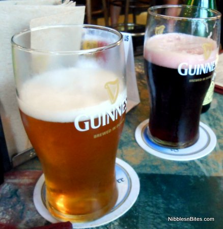 Lambics in frosty Guinness glasses at European Street Cafe