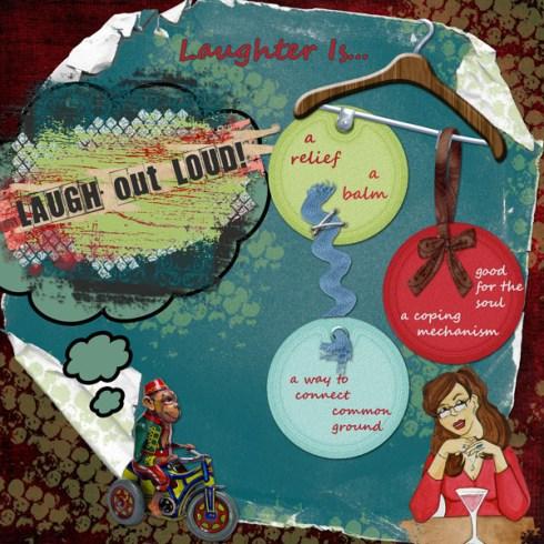 """Laugh out Loud"" digital art journal layout"