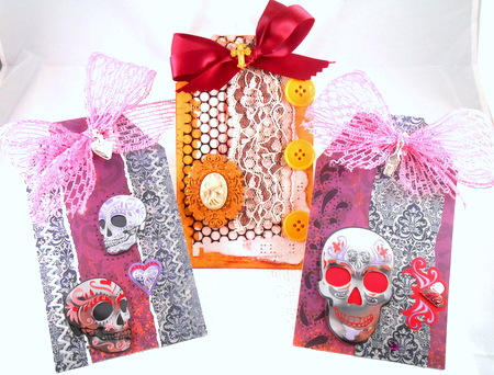 Trio of Skull Tags made from Gauche Alchemy's Dia de los Muertos kit