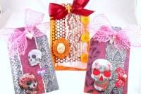 Trio of Skull Tags made from Gauche Alchemy's Dia de los Muertos kit