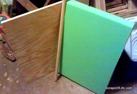 """The pieces for the rest of the makeover: 3/4"""" plywood and 2 """" foam for the seat, and a 1-inch dowel for the braces."""