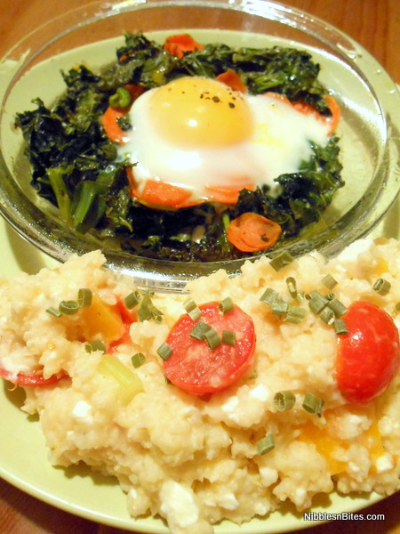Kale and Carrot Eggs with Tri-Color Millet