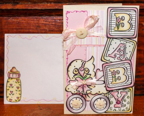 Baby Girl Dimensional Baby Card