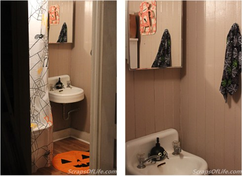 jvanderbeek_halloween_homedecor_bathroom_pumpkins_spiders_towels_bathmats
