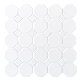 Reminder of the tile we picked. Simple, not fussy, though it'll look more interesting with the silver grout we picked.