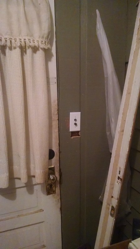 A light switch in a logical place--not so common in this house.