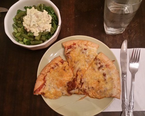 Italian Pizza Pie with Savory String Bean Salad